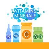 Bouteille de vitamines nutritives essentielles de minerais d'éléments chimiques Image stock