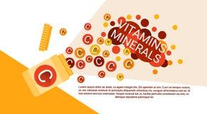 Bouteille de vitamines nutritives essentielles de minerais d'éléments chimiques illustration libre de droits