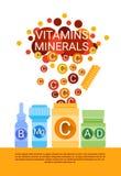 Bouteille de vitamines nutritives essentielles de minerais d'éléments chimiques illustration stock