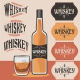 Bouteille de whiskey, verre de whiskey avec de la glace et Photo libre de droits