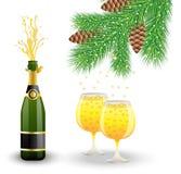 Bouteille, deux verres avec le champagne et branche d'arbre de Noël illustration libre de droits