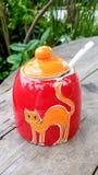Bouteille en céramique avec des sucres Photo libre de droits
