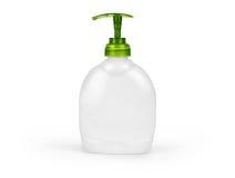 Bouteille en plastique avec du savon liquide sur un fond blanc Images libres de droits