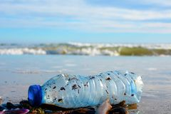 Bouteille en plastique sur le sable humide jeté par la vague de mer photo libre de droits