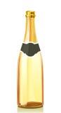 Bouteille en verre avec du vin de Champagne d'or Photographie stock libre de droits