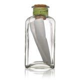 Bouteille en verre avec la note Image libre de droits
