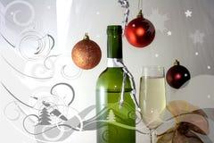 Bouteille en verre de vin blanc Image stock