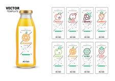 Bouteille en verre réaliste de jus frais avec l'ensemble de labels illustration de vecteur