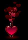 Bouteille en verre remplie de philtre d'amour rose Photographie stock libre de droits