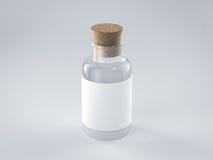 Bouteille en verre vide avec le label blanc Images libres de droits