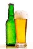 Bouteille et glace de bière Images libres de droits