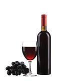 Bouteille et glace de vin rouge Photographie stock libre de droits