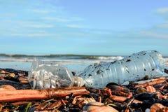 Bouteille et seashalls en plastique sur le sable humide jeté par la vague de mer photos stock