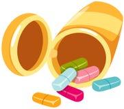 Bouteille et tablettes de médecine illustration de vecteur