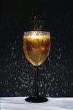 Bouteille et verre à vin avec la condensation Image stock
