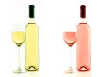 Bouteille et verre de vin blanc et rosé d'isolement Photo stock