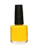 Bouteille jaune de vernis à ongles Photo libre de droits