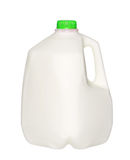 Bouteille à lait de gallon avec le chapeau vert d'isolement sur le blanc Images libres de droits