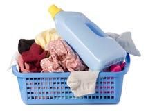 Bouteille propre de lavage sale de panier de blanchisserie de poudre liquide image libre de droits