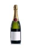Bouteille rouge de champagne sans l'étiquette images libres de droits