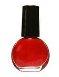 Bouteille rouge de vernis à ongles Photographie stock libre de droits