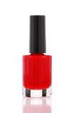 Bouteille rouge de vernis à ongles Photo libre de droits