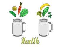 Bouteille tirée par la main pour des smoothies avec les fruits et légumes et le ` de santé de ` des textes Images stock