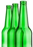 Bouteille trois en verre verte Photographie stock