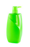 Bouteille verte de shampooing d'isolement sur le blanc Photo stock