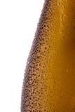 Bouteilles à bière avec des gouttelettes d'eau en gros plan sur le fond blanc Photos stock