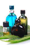 Bouteilles aromatiques de pétrole et de parfum Photographie stock