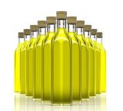 Bouteilles avec l'huile d'olive Photographie stock libre de droits