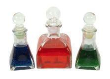 Bouteilles avec le liquide coloré Image stock