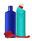 Bouteilles avec le liquide et la brosse de nettoyage d'isolement sur le blanc Images stock