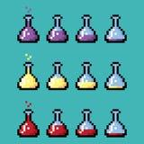 Bouteilles chimiques médicales avec l'élixir dans le style de pixel Images libres de droits