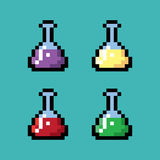 Bouteilles chimiques médicales dans le style de pixel Photo stock
