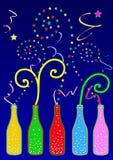 Bouteilles colorées de réception Images libres de droits