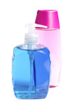 Bouteilles colorées de savon liquide Photographie stock libre de droits