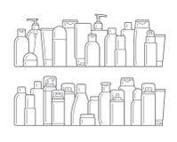 Bouteilles cosmétiques Icônes plates illustration stock
