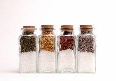 Bouteilles d'herbes et de sels de mer Photo stock