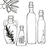 Bouteilles d'huile d'olive illustration libre de droits