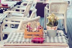 Bouteilles d'huile et vinaigre d'olive, pot de fleur et serviettes Photo stock