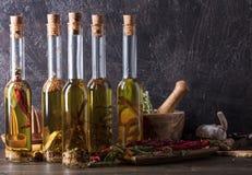 Bouteilles d'huile d'olive avec différentes épices et herbes Images stock