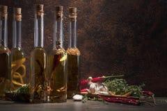 Bouteilles d'huile d'olive avec différentes épices et herbes Image libre de droits