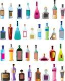 Bouteilles de base d'alcool de vecteur Photo libre de droits