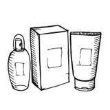 Bouteilles de cosmétologie sur le fond blanc Photographie stock