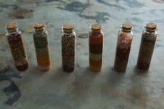 Bouteilles de diverses épices Photographie stock libre de droits