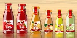 Bouteilles de jus avec la maquette de lables de fruits illustration stock