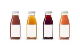 Bouteilles de jus de fruits et légumes d'isolement sur le fond blanc Images libres de droits