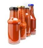 Bouteilles de ketchup Photos stock